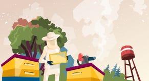 Bonde Gather Honey From Bee Hive Apiary vektor illustrationer