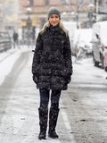 Blonde girl in the snow. A bonde girl in the snow Royalty Free Stock Photos