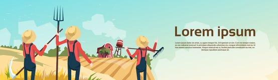Bonde Group Wheat Harvest, jordbruksmarkbygdlandskap royaltyfri illustrationer