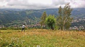 Bonde, i Rumänien att meja Arkivbilder