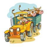 Bonde i traktor vektor illustrationer