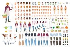 Bonde, lantgård eller jordbruks- arbetarkonstruktör eller DIY-sats Uppsättning av kroppsdelar för manligt tecken, ansiktsuttryck stock illustrationer