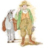 Bonde med åsnan stock illustrationer