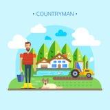 Bonde Near Farm, vektor för lägenhet för landskap för fältjordbruksmarkbygd Royaltyfri Illustrationer