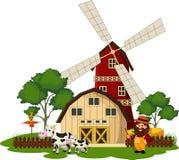 Bonde och ko på lantgården Arkivbild