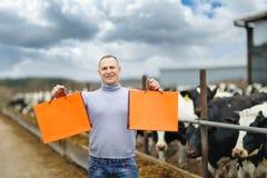 Bonde som arbetar på lantgård med mejerikor Royaltyfri Bild