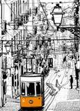 Bonde típico em Lisboa perto do quadrado de Chiado ilustração royalty free