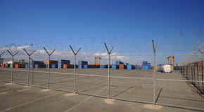 Bonded warehouse  in Limassol - Cyprus. Freight containers at the docks ready for shipping Royalty Free Stock Photography