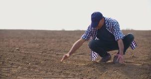 BondeExamining Soil In jordbruks- fält, jordbruk, lantbruk, ekologi arkivfilmer