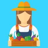 Bondekvinna med grönsaker royaltyfri illustrationer