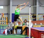 Bonderenko Bogdan gana el segundo lugar el salto de altura Fotografía de archivo libre de regalías