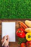 Bondes anteckningsbok med grönsaker Royaltyfria Bilder