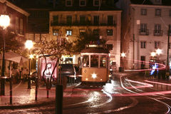 Bondes de Lisboa na noite Foto de Stock Royalty Free