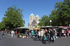 Bondes marknad i Munster, Tyskland Royaltyfri Foto