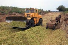 Bondetraktoren samlar de jordbruks- skördarna i en hög royaltyfri bild