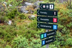 Signpost showing directions of treeking routes in Bondhus, Norway stock image