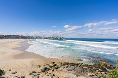 Bondi Beach and apartments in Sydney, Australia. View of the Bondi beach and modern beachside apartments in Sydney, Australia during daytime Royalty Free Stock Photography
