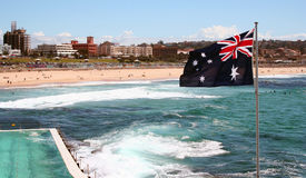 Bondi Beach, Australia. Australian flag at Bondi Icebergs Pool and Bondi Beach, Sydney, Australia Royalty Free Stock Photo