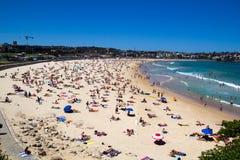 Bondi Beach Crowds. Crowds on Bondi Beach on a Summer day, in Sydney Australia Royalty Free Stock Photography