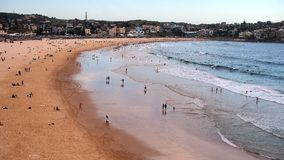 Bondi Beach at Dusk. Iconic Bondi Beach, Sydney, Australia, at dusk. Bondi is Australias most famous and popular beach, and is a haven for holiday makers and royalty free stock photo