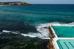 Bondi Beach Icebergs swimming pool. People swimming at the famous Bondi Beach Icebergs swimming pool Stock Images