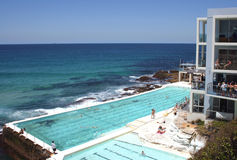 Bondi Beach pool Sydney. Swimmers at Bondi Beach Pool, Sydney Australia Stock Photo