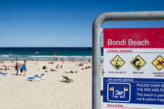 Bondi Beach Sydney. Warning sign on Bondi Beach Sydney Australia Royalty Free Stock Image