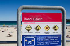 Bondi Beach Sydney. Warning sign on Bondi Beach Sydney Australia Stock Photos