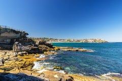 Bondi Beach in Sydney, Australia. Sydney, Australia - February 20, 2017: View of the Bondi Beach in Sydney Australia stock photography