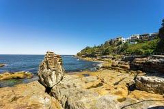 Bondi Beach in Sydney, Australia. Sydney, Australia - February 20, 2017: View of the Bondi Beach in Sydney Australia Royalty Free Stock Photos