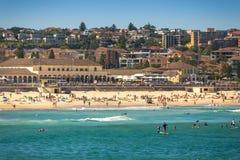 Bondi Beach in Sydney, Australia. Sydney, Australia - February 20, 2017: View of the Bondi Beach in Sydney Australia royalty free stock photo