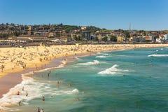 Bondi Beach in Sydney, Australia. Sydney, Australia - February 20, 2017: View of the Bondi Beach in Sydney Australia stock images