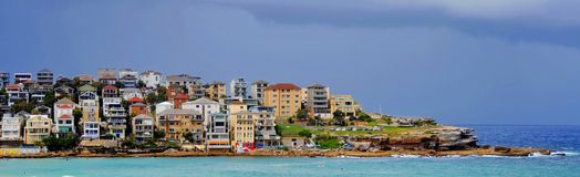 Bondi Beach, Sydney / Australia - February 2, 2017: View of Bondi Beach on a sunny day. Stock Image