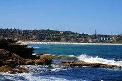 Bondi Beach, Sydney, Australia. Waves crashing onshore at Bondi Beach in Sydney, Australia Stock Photos