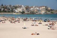 Bondi Beach and Waterfront Apartments. SYDNEY,NSW,AUSTRALIA-NOVEMBER 21,2016: Bondi Beach with crowds sunbathing, surfing, and swimming with waterfront Stock Photos