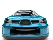 Bondi blue modern touring race car - front view closeup shot Stock Photos