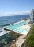 Bondi icebergs pool. Scenic view of Bondi Icebergs resort swimming pool on coastline, Bondi Beach, Sydney, Australia Stock Images