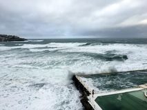 Bondi pool in the storm Royalty Free Stock Photography