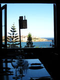Bondi Restaurant. The view of bondi from a beach front restaurant at bondi Royalty Free Stock Images