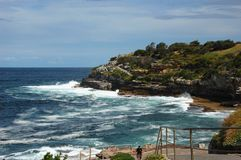 Bondi to Coogee coastal walk, Sydney, Australia. A cliff top coastal walk extends for 6 km in Sydney eastern suburbs. The walk features stunning views, beaches royalty free stock images