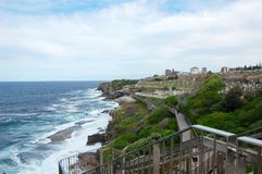 Bondi to Coogee coastal walk, Sydney, Australia. A cliff top coastal walk extends for 6 km in Sydney eastern suburbs. The walk features stunning views, beaches stock image