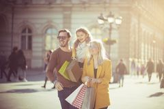 Bonding. Family in the city royalty free stock photography