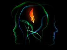 Bonding Flame. Male and female ight contours united by flame Stock Photos