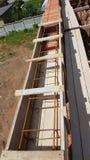 Bonding of reinforcement. Making formwork, timbering Stock Image