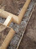 Bonding of reinforcement. Making formwork, timbering Stock Photo