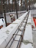 Bonding of reinforcement. Making formwork, timbering Stock Images