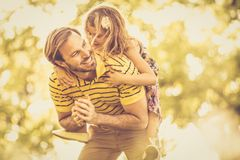 Bonding time with daddy. Single father spending time with his daughter stock photography