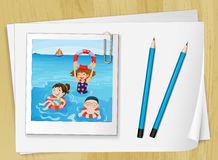 Bondpapers with a frame and pencils. Bondpapers with a picture frame and two blue pencils Royalty Free Stock Image