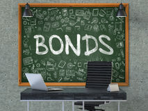 Bonds Concept. Doodle Icons on Chalkboard. 3D Render. Royalty Free Stock Images