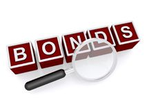 Bonds graphic. Red and white 3D block graphics on magnifying glass on white Stock Images
